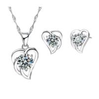 Myfavori Takı Seti 925 Ayar Gümüş Kaplama Kalp Cz Kristal Kalp Kolye Küpe Takı Seti