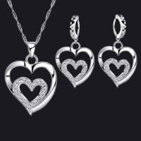 Myfavori Takı Seti Çift Kalp Kolye Küpe 925 Gümüş Kaplama Zirkon Cz Kristal Küpe Takı Seti