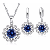 Myfavori Takı Seti Mavi Kristal Taşlı Ayçiçeği Gümüş Kaplama Maxi Choker Kolye Küpe Seti