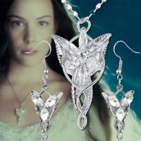 A-Leaf Lord Of The Rings Arwen Evenstar Akşam Yıldızı Elf Zirkon Kolye Küpe Set