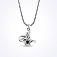 Mina Silver Osmanlı Tuğralı Taşsız Gümüş Zincirli Erkek Kolye