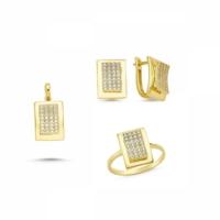AdorGold 14 Ayar Altın Taşlı 3'lü Takım Sg42-926358