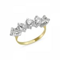 Sembolgold Özel Tasarım! Altın 5 Taş Yüzük Zirkon Taşlı Sg42-783439 22