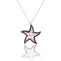 Azuris 925 Ayar Gümüş Baget Taşlı Deniz Yıldızı Kolye Upt1126
