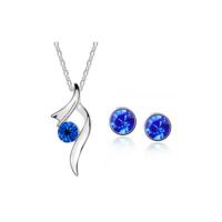 Myfavori Takı Seti Koyu Mavi Avusturya Kristal Kolye Küpe Takı Seti 3055