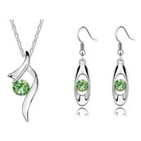 Myfavori Takı Seti Avusturya Yeşil Kristal Gümüş Kaplama Kolye Küpe Takı Seti 3058