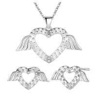 Myfavori Takı Seti Gümüş Kaplama Romantik Melek Kanatları Küpe Kolye Takı Seti 3108