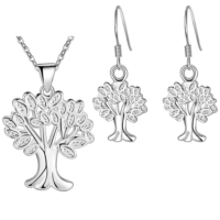 Myfavori Takı Seti Şans Ağaç Takı Seti Gümüş Kaplama Kolye Ve Küpe 3110