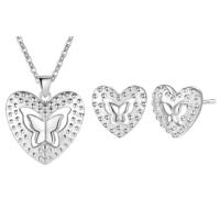 Myfavori Takı Seti Kalp İçinde Kelebek Gümüş Kaplama Takı Seti 3114