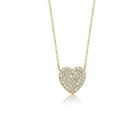 Diva Pırlanta Altın Taşlı Kalp Kolye