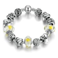 Angemiel Sarı Beyaz Kalp Figürlü Charm Bileklik