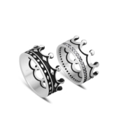 Takıhan 925 Ayar Gümüş Kral Kraliçe Tacı Model Alyans
