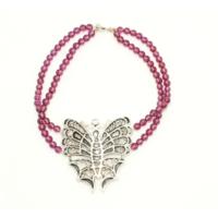 Nusret Takı 925 Ayar Gümüş Garnet Taşlı Kelebek Bileklik