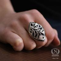 Nusret Takı 925 Ayar Gümüş Büyük Mekik Oltu Taşı Desenli Yüzük 20