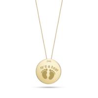 Goldstore 14 Ayar Altın Bebek Ayakizi Madalyon Kolye Gp40746
