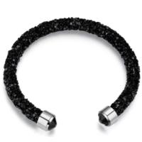 Monemel Swarovski® Taşlı Crystal Dust Bileklik - Deep Black