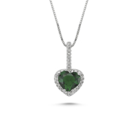 Nevinci Yeşil Kuvars Kalp Kolye