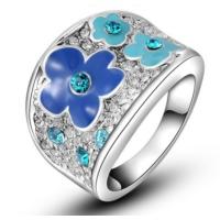 E-Hediyeci Moda Mavi Erik Çiçeği Kaliteli Platin Kaplama Yüzük 8