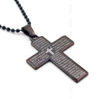 Solfera Latin Yazılı Haç İncil Antrasit Çelik Erkek Kolye K740