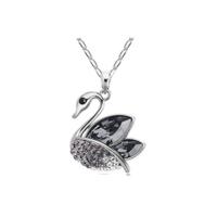 Myfavori Kolye Gümüş Kaplama Siyah Kristal Taşlı Kuğu Kolye
