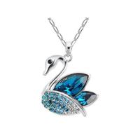 Myfavori Kolye Gümüş Kaplama Mavi Kristal Taşlı Kuğu Kolye