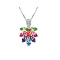 Myfavori Kolye Renkli Kristal Kolye Şık ve Zarif Söz Nişan Düğün Takıları