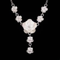 Myfavori Kolye Gümüş Kaplama Çiçek Desenli Retro Güzel Kolyeler