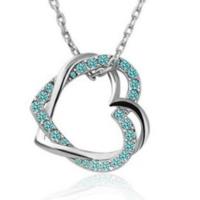 Myfavori Kolye Romantik Takılar Mavi Taşlı Kalp Kolye
