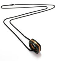 Chavin 75 Cm. Uzun Siyah Zincirli Çelik Erkek Kolye Ae76K