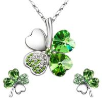 A-Leaf 4 Yaprak Yonca Kolye Küpe Set Bayan Kolye Set Şans Aşk Umut İnanç Sembolü Yeşil