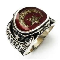 Osmanlı Gümüş Gümüş Erkek Yüzük Otantik Ayyıldız Al Mineli