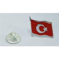 Osmanlı Gümüş Türk Bayraği Mineli Gümüş Rozet
