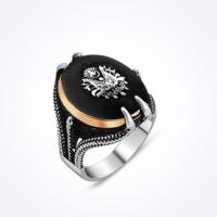 Mina Silver Siyah Oniks Osmanlı Devlet Armalı Taşlı Pençe Tırnaklı Gümüş Erkek Yüzük Ms11043 31