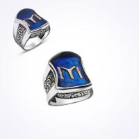 Mina Silver Nali Şerif Modeli Kayı Boyu Iyı Mavi Mineli Taşsız Gümüş Erkek Yüzük Ms11045 18