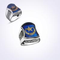Mina Silver Nali Şerif Modeli Ayyıldız Mavi Mineli Taşsız Gümüş Erkek Yüzük Ms11047 22