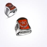 Mina Silver Nali Şerif Modeli Ayyıldız Kırmızı Mineli Taşsız Gümüş Erkek Yüzük Ms11048 31