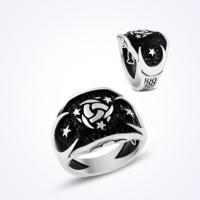 Mina Silver Osmanlı Mit Teşklat Simgeli Ayyıldız Sade Taşsız Gümüş Erkek Yüzük Ms11053 24