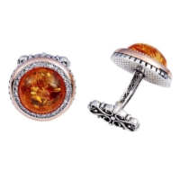 Şahin Gümüş Kehribar Taşı Kol Düğmesi
