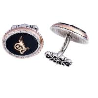 Şahin Gümüş Oniks Yanları Zirkon Taşı İşlemeli Tuğra İşlemeli Oval Kol Düğmesi
