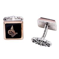 Şahin Gümüş Oniks Taşı Üzerine Tuğra İşlemeli Kare Kol Düğmesi