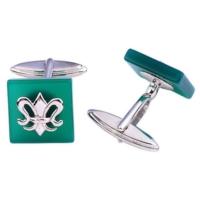 Şahin Gümüş Yeşil Akik Taşlı Kare Kol Düğmesi