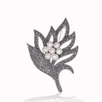 Şahin Gümüş 925 Ayar Gümüş Markazit Taşlı İnci Yaprak Broş
