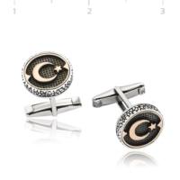 Şahin Gümüş 925 Ayar Gümüş Ay Yıldız Oksitli Kol Düğmesi