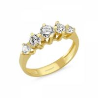 Sembolgold Özel Tasarım! Altın 5 Taş Yüzük Zirkon Taşlı Sg42-783443 6