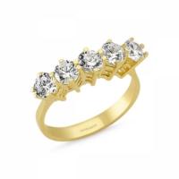 Sembolgold Özel Tasarım! Altın 5 Taş Yüzük Zirkon Taşlı Sg42-783444 6