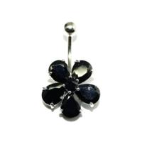 Cadının Dükkanı 316L Cerrahi Çelik Taşlı Çiçek Göbek Piercing Aefrtuw86