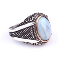 Nusret Takı 925 Ayar Gümüş Desenli Oval Mavi Akik Taşlı Erkek Yüzük