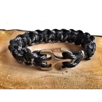 Forentina Siyah Erkek Örgü Bileklik FR0488