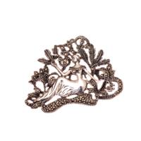 Sümer Telkari Markazit Taşlı Gümüş Deniz Kızı Broş 108