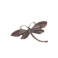 Sümer Telkari Markazit Taşlı Gümüş Yusufçuk Broş 109